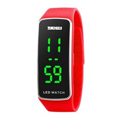 Sankuwen Silicone LED Men Womens Sport Bracelet Digital Watch Red -- Want to know more on the watch, click on the image.