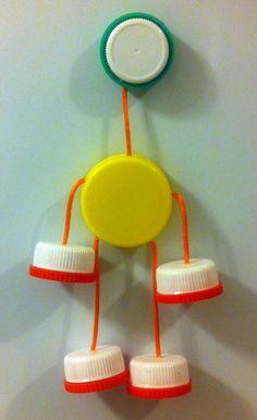 Eco Friendly Fridge Magnet Clown made from Plastic Bottle Caps via Etsy