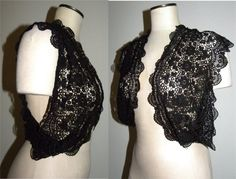 Vintage black lace shrug. Floral crocheted lace. Open front, wide armholes drape - point at center back. Appears to be homemade.  Vintage size unknown - should fit a variety of sizes  Condition is very good, has a couple of threads (just need trimming) no holes or stains  Form in photos measures 34 bust, 26.25 waist, 35 hip  Measured - flat armpit to armpit (across back) - flat - about 12 front panels are about 9.5 wide across bust, about 7 wide at bottom length - center back - about 16.5…