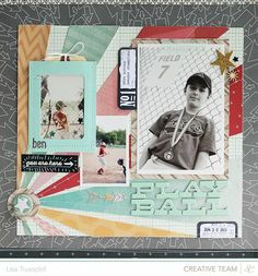 "Lisa Trusdell using SC thataway collection. ""i took one of the stitched pockets and added a photo, tag and some confetti before attching it to my page. and the chalkboard accents add a nice pop against all of the brighter colors."""