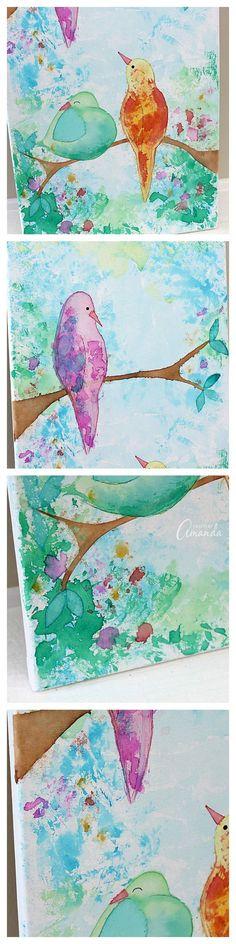 El sangrado del tejido pájaros de papel sobre lienzo - eso es correcto, no hay pintura fue utilizada para hacer esta pieza de arte de la pared!  El uso de papel tejido sangrante y agua para crear hermosos diseños, similares a este pájaros en una rama del arte pared de lona.