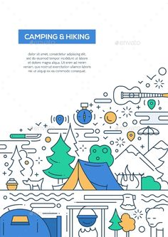 Camping And Hiking - Line Design Brochure Poster by decorwm Caping and hiking vector line design brochure poster, flyer presentation template, A4 size layout.