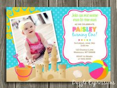 Printable Girl Beach Party Birthday Invitation | Summer Birthday Party Idea | Sand Castle | Pool or Swimming Party | FREE Thank You Card Included | Matching Party Package Available! Banner | Cupcake Toppers | Favor Tag | Food and Drink Labels | Signs | Candy Bar Wrapper | www.dazzleexpressions.com