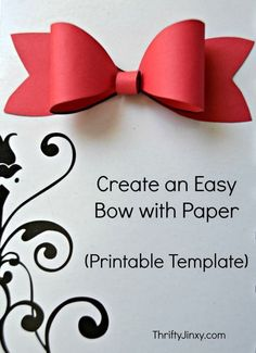 Printable Paper Bow Template Make Your Own Package Decorations! Printable Paper Bow Template Make Your Own Package Decorations! Valentine's Day Paper Crafts, Diy Crafts, Paper Crafting, Valentine Crafts For Kids, Christmas Crafts, Christmas Ideas, Valentines, Bow Template, Paper Packaging