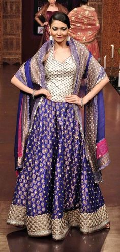 Sangeet Lehengas - Cream and Purple Lehenga | WedMeGood | Cream and Gikd Blouse, Purple Lehenga with Gold Scattered Motifs and Gold Border and Purple Silk Dupatta #wedmegood #sangeet #lehengas #purple
