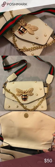 Embellished handbag Like new. Used only once. Super cute and in style. There are some marks from sitting in the closet for a while (as seen in third picture). No other sign of wear or tear. Comes with a detachable staple strap. Off-white in color Bags Crossbody Bags