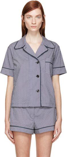 Araks Blue & White Pyjama Blouse