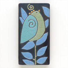 Bird,Ceramic tile,Whimsical, handmade, wall art, home decor 3x6 raku fired art tile via Etsy