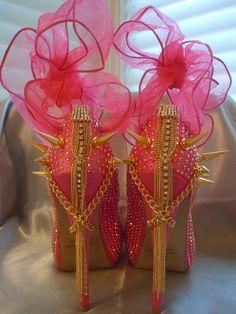 High Heel Platform Spiked Women Shoes Hot Pink size by Spikesbyg, whoaaaaaa