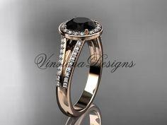14k rose gold diamond engagement ring, Black Diamond VD10083