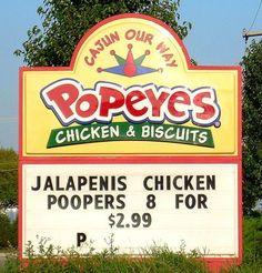Jalapenis Chicken Poopers! HAHAHAHAHAHAHAHA  Don't feel like any of those today!