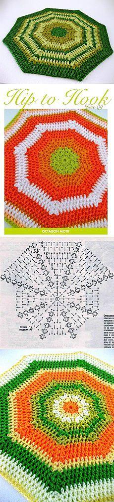 Коврик - восьмиугольник крючком. Можно накидку на стул.