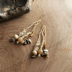 Dangle Earrings in warm natural tones  light by SpiritCarrier, £22.00