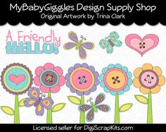 Fun Spring Flowers Clip Art Digital Graphics Printable Clip Art for School, Crafts, Gifts or Small Business. www.mybabygiggles.etsy.com