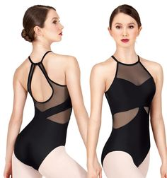High Neck Mesh Halter Leotard - Fashion Leotards | DiscountDance.com