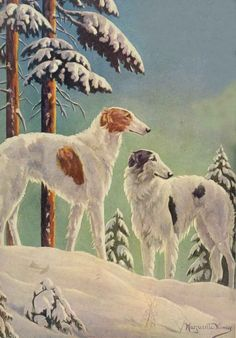 Borzoi Dogs by Marguriete Kirmse 1928