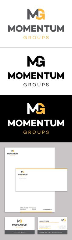 Momentum Groups Logo and Identity System: Letterhead, Envelope, Business Card