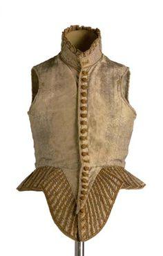 Jubón femenino de seda con bastas flotantes por urdimbre de color gris que dibujan una decoración en zig-zag y roleos. Ajustado al cuerpo se prolonga en el delantero con un pronunciado pico. El cuello de tirilla remata en pequeñas piezas rectangulares que recorren todo el perímetro del cuello. Andalucía 1590-1620.