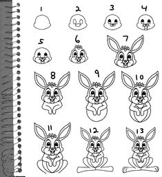 How to Draw Bunny Rabbits : Drawing Tutorials & Drawing & How to Draw Bunny Rabbits and Easter Bunnies Drawing Lessons Step by Step Techniques for Cartoons & Illustrations Cartoon Drawings, Animal Drawings, Cool Drawings, Drawing Animals, Drawing Skills, Drawing Lessons, You Draw, Learn To Draw, Easter Poems