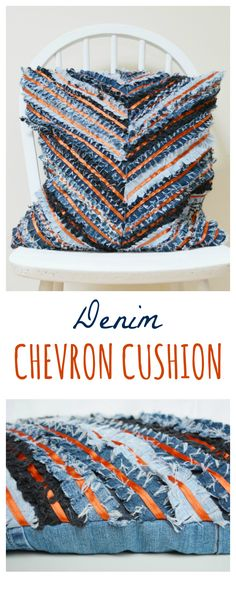 DIY Denim Chevron Cushion - tutorial to transform denim scraps into fun cushion #recycledenim