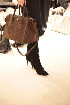 suede prada handbag