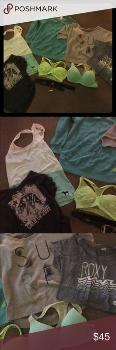 Size sm workout lot Roxy Pink VS + HR Monitor Awesome lot of size small work out items pink size small tank, billabong size small ca love t, roxy size small workout sweatershirt roxy surf 3/4 sleeve pull over roxy workout t pink sports bra size small pink sports bra size med polar heart rate monitor with chest strap works great just needs new batteries Roxy Other