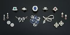 Sapphire, Diamond, Bow & Crescent Moon, Ruby cluster, Earrings, Ring, Brooch, Emerald