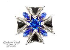 Swarovski Brooch, Beaded Brooch, Swarovski Crystals, Bead Embroidery Jewelry, Beaded Embroidery, Maltese Cross, Handmade Beads, Blue And Silver, Seed Beads