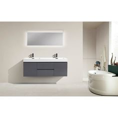 Shop for Moreno Bath MOF 60 Inch Wall Mounted Modern Bathroom Vanity With Reinforced Acrylic Double Sink. Get free delivery On EVERYTHING* Overstock - Your Online Furniture Outlet Store! Get in rewards with Club O! Complete Bathrooms, Cheap Bathrooms, Amazing Bathrooms, Single Sink Bathroom Vanity, Modern Bathroom, Bathroom Vanities, Single Vanities, Minimal Bathroom, Bathroom Cabinets