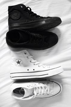 All white and black pair of converse  Rock tha  black or white or I don t  think so  f79c364a9