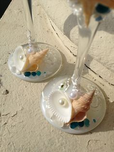 Starfish wedding champagne glasses beach wedding by PureBeautyArt