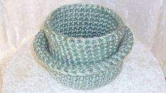 Nesting Storage Baskets, crocheted in Frosted Pale Green thick and soft yarn, set of 2 for dresser or tabletop Large Baskets, Love Home, Storage Baskets, Handicraft, Tabletop, Sea Shells, Home Accessories, Dresser, Crochet Hats