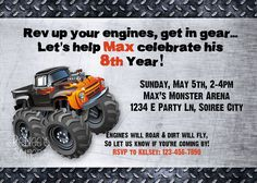MONSTER TRUCK Birthday Invitation     by @Renee Peterson's Soirees