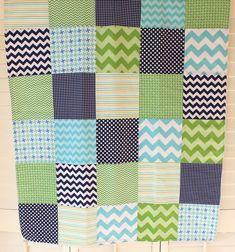 Baby Boy Blanket, Nursery Decor, Photography Prop, Fleece Blanket, Baby Bedding, Chevron Nursery, Aqua Blue, Green and Navy Blue Chevron Dot