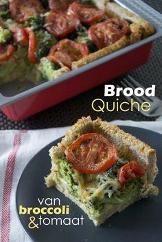 Broodquiche met broccoli en tomaat; ook te maken met allerlei andere groenten!