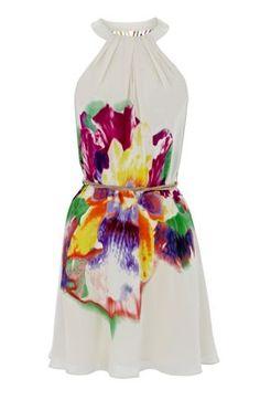 Warehouse Orchid Print Cross Back Halter Dress