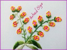 Ring Stitch Flowers   Flores En Puntada Anillo   Hand Embroidery Tutorial by Artesd'Olga - YouTube