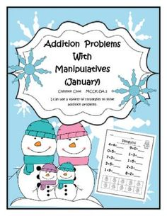Addition Problems with Manipulatives (January) (sums to 10) from Dr. Clements' Kindergarten on TeachersNotebook.com -  (8 pages)  - Addition Problems with Manipulatives (January) (sums to 10) -  8 pages