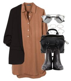"""""""Outfit for work with a shirt dress and blazer"""" by ferned on Polyvore featuring Forever 21, United by Blue, Zara, Givenchy and Acne Studios"""