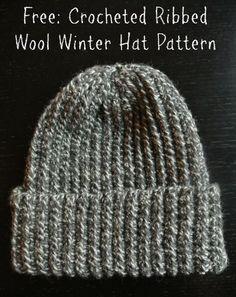 f9aba4513c5 Crochet Pattern  Ribbed Wool Winter Hat