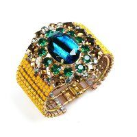 Crystal Charm ~ Clamper Bracelet ~ Golden Yellow with Turquoise