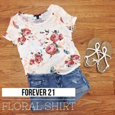 ⚡️FLASH SALE⚡️Forever 21 Floral Shirt Floral tee from Forever 21, size medium. Never worn. Shirt has a scoop neckline and a small high-low hem. It appears more white in photos, but it is a peachy color and most accurate in last photo. There is a small flaw on back of neck, as pictured next to a penny. PRICE IS FIRM. Material: 100% rayon. Length: 23 in. ❌ No trades Forever 21 Tops Tees - Short Sleeve