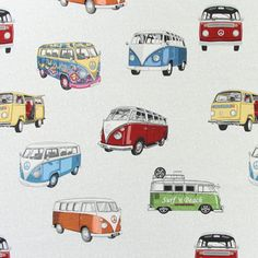 VW Bulli 1 - blanco - Telas 1970-1979 - Telas 1960-1969 - Más telas decorativas - Telas de decoración retro - telas.es Volkswagen, Vw T, Kombi Camper, Hippie Party, Cottage Crafts, Happy Hippie, Textile Texture, Car Drawings, Happy Campers