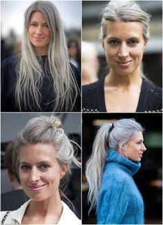 Sarah Harris • estilo • cabelos brancos • cabelo cinza • make para cabelo cinza • cabelo branco e comprido