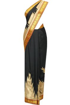 Black brocade saree with multicolour panelled pallu available only at Pernia's Pop Up Shop.