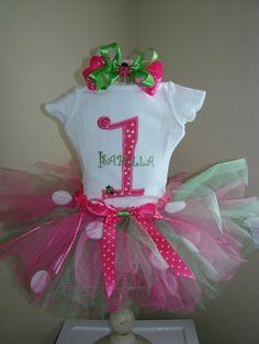 pink and green ladybug birthdayparty | Ladybug Birthday Tutu Outfit Pink and green ... | Birthday Party Ideas