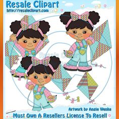 Kite Flying Girl 1 Clipart Digital Download by MaddieZee on Etsy, $1.50