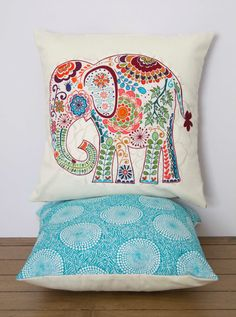 "Elephant Pillow- 12""x12"" Decorative Throw Pillow Cover with pink paisley elephant appliqué, bright blue geometric circle printed backing"