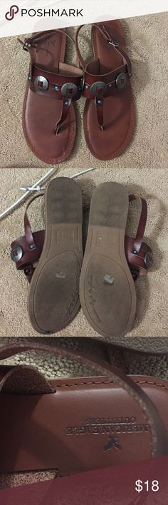 Turquoise embellished sandals Leather, barely worn American Eagle Outfitters Shoes Sandals