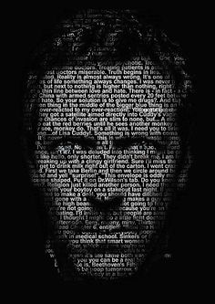 Hugh Laurie image made up of all Dr Gregory House's quotes.